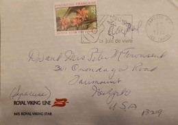 J) 1972 FRANCE, FRENCH POLYNESIA, WITH SLOGAN CANCELLATION, GUITAR, FLOWER, AIRMAIL, CIRCULATED COVER, FROM FRANCE TO US - Non Classificati