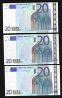 """Complete Set (3 P.) Greece """"Y"""" 20  EURO GEM UNC! Duisenberg/Trichet/Draghi Signatures!   (For Printers See Description). - 20 Euro"""
