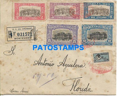 165993 URUGUAY MONTEVIDEO COVER CANCEL YEAR 1925 REGISTERED CIRCULATED TO FLORIDA NO POSTAL POSTCARD - Uruguay