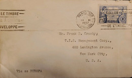 J) 1937 FRANCE, UNITED STATES FEDERAL CONSTITUTION, FRANCE, WITH SLOGAN CANCELLATION, CIRCULATED COVER, FROM FRANCE TO N - Non Classificati