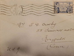 J) 1938 FRANCE, UNITED STATES FEDERAL CONSTITUTION, WITH SLOGAN CANCELLATION, CIRCULATED COVER, FROM FRANCE TO USA - Non Classificati