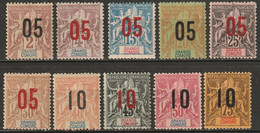 Grand Comoro 1912 Sc 20-9 Yt 20-9 Set MH*/MNG(*)/used - Unused Stamps