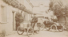"""Carte Photo Automobile - Vente De Voiture - Tricar """"2 Places A Volonté"""" Et """"voiturette"""" Moteur De Dion Bouton + Agrandis - Passenger Cars"""