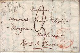Cursive 65 ESTAGEL , Lettre Avec Texte Cachet PERPIGNAN Pyrenees Orientales - 1801-1848: Precursors XIX