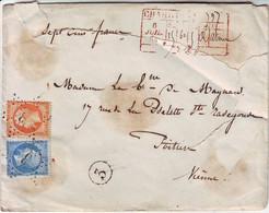N° 22 Et 23 Obl Etoile 3 De PARIS Sur Lettre CHARGE Pour Poitiers 1864 , AB , Descriptif Au Recto - 1849-1876: Classic Period