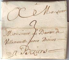 Lettre Datee De CLERMONT ( De Lodeve ) Herault , Texte De Deux Pages 1738 , TAXE POSTALE 3 Pour BEZIERS , TTB - 1701-1800: Precursors XVIII