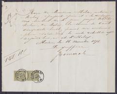 Reçu Daté 16 Novembre 1893 De HERON Affr. Paire Verticale N°47 Càd HUY (NORD) /16 NOVE 1893 Pour MOHA (au Dos: Càd MOHA) - 1884-1891 Leopold II