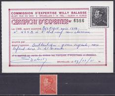 Belgique - N°435B ** 20f Rouge-vermillon Poortman - Certificat Willy Balasse / Signé Guy Balasse - 1936-1951 Poortman