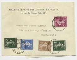 SEMEUSE 1C+2CX2+10C+20C LILAS BANDE COMPLETE PARIS XVII 17.7.1937 AU TARIF 3EME PEU COMMUN - 1906-38 Sower - Cameo