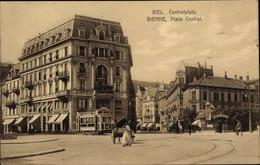 CPA Biel Bienne Kt Bern, Place Central, Straßenbahn, Gasthaus - BE Berne