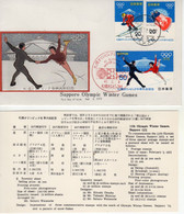 Japan FDC 1972 Sapporo Olympic Winter Games, Metal Cachet. - Inverno1972: Sapporo