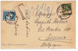 Carte Postale 1921 Interlaken Photo Argentique Suisse Gare De Bâle Basel Bundesbahnhof Taxe Belge Esneux Belgique - Covers & Documents