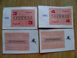 LITHUANIA 3 4 TALONAS 1992 May Aunc - Lituanie