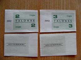 LITHUANIA 2 3 TALONAS 1992 July Aunc - Lituanie
