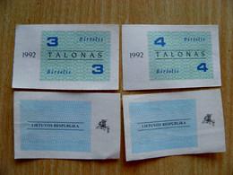 LITHUANIA 3 4 TALONAS 1992 June Aunc - Lituanie