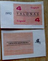 LITHUANIA 4 TALONAS 1992 May Aunc - Lituanie