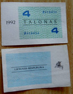 LITHUANIA 4 TALONAS 1992 June UNC - Lituanie