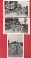3 Photos Visite Du Maréchal Leclerc De Hautclocque  (site Non Localisé) - Guerre, Militaire