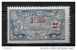 1924 - N° 124*MH - Bâteau - Neufs