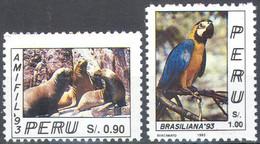 3580 ✅ Fauna Animals Marine Life Birds Parrots 1993 Peru 2v Set MNH ** 4,2ME - Parrots
