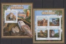 ST1914 2016 NIGER FAUNA BIRDS OWLS LES HIBOUX KB+BL MNH - Owls