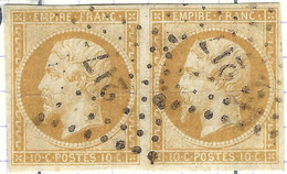 FRANCE Classique: Paire Du Y&T 13A, Obl. PC 217 (Ayron, Ind.9), VIENNE, Pli D'archive - 1853-1860 Napoleon III