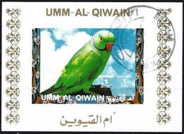 Umm Al-Qiwain 1972 - Mi B 1248BwBL - YT Xxx ( Tropical Bird : Rose-ringed Parakeet ) Block Impeforated - Parrots