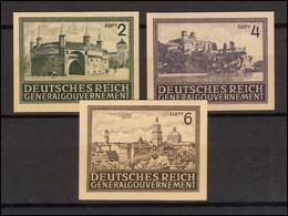113-115U Freimarken Bauwerke 1943/44, Drei Werte UNGEZÄHNT Kompl. ** Postfrisch - Ocupación 1938 – 45