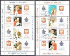 Poland 2004 - Visit Of The Pope John Paul II In Poland - Mi.4109-16 - Sheets - Used - Blocchi E Foglietti