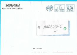 NOUVEAU Marque De Tri BP [80219] EMA CP 651702 Nord Lille Env Eurodatacar Antivol Marquage - Mechanische Stempels (varia)