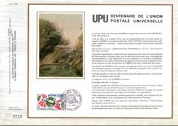 REUNION DOCUMENT FDC 1974 CENTENAIRE DE L'U P U - Cartas