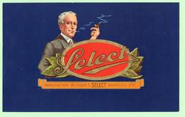 R - Etiquette Chromo Gaufrée Grand Format - Select - Manufacture De Cigares - Bruxelles - Belgique - Tabac - Etichette