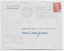 GANDON 15FR ROUGE SEUL LETTRE MAL OUVERTE PARIS 1.VI.1950 POUR ITALIE TARIF SPECIAL 1ER JOUR DU TARIF - 1945-54 Marianne (Gandon)