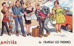CHAPERON - Amitiés De CRANSAC LES THERMES - Clients Devant Le Grand Hôtel - Humor