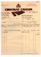 FACTURE + TRAITE CHOCOLAT CARDON à CAMBRAI 1935 - 1900 – 1949