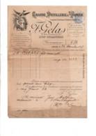 1897 FACTURE F. GELAS DISTILLERIE A VAPEUR LYON-GUILLOTIERE - 1800 – 1899