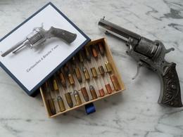 Revolver à Broche Type Lefaucheux 7 Mm. Gravé Au Nom De L'armurier + Nombreux Marquages Et Numéros - Decorative Weapons