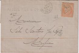 POSTE MARITIME-L-TP N°38 OB ANCRE BLEUE+CAD LIGNE U-19/8/1871-PAQ.-FR-N1-BLEU-MARSEILLE POUR MESSINE - Poste Maritime