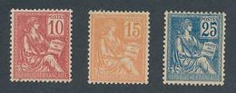 EC-645: FRANCE: Lot Avec N°116/118* - 1900-02 Mouchon