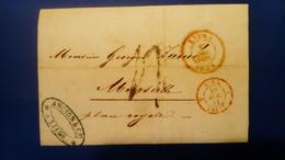 Belgique - LAC De Liège à Marseille - Envoyée Par La Firme Ancion & Cie - DC Rouge Du 10/12/1851 Avec Indication Horaire - 1851-1857 Medaglioni (6/8)