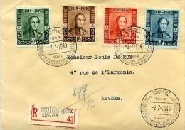 Centenaire 1er Timbre Belge, 807 / 810 Sur Lettre Recommandée De Bruxelles Vers Anvers - Brieven En Documenten