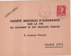 "FRANCE : ENTIER POSTAL . 15 F . TYPE MULLER . EP TSC . "" MUTUELLE D'ASSURANCE"" . 1957 . OBL . - Standard- Und TSC-Briefe (vor 1995)"