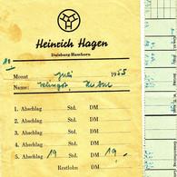 "Duisburg 1955 "" Lohntüte Fa Heinrich Hagen In Hamborn Bauunternehmung "" Dokument - Documents Historiques"