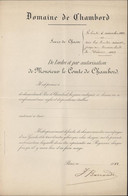 Autorisation De Chasse Parc Château Chambord Domaine D'Henri IV Petit-fils Charles X Dernier Prétendant Trône De France - Sin Clasificación