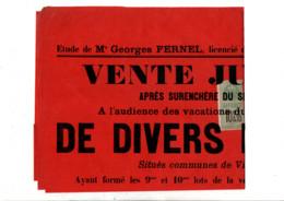 TIMBRE FISCAL SUR AFFICHE VENTE JUDICIAIRE 1908 - Fiscale Zegels