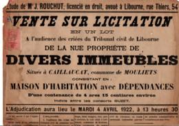 TIMBRE FISCAL SUR AFFICHE VENTE SUR LICITATION 1922 - Fiscale Zegels
