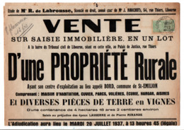 TIMBRE FISCAL SUR AFFICHE SAISIE IMMOBILIERE 1935 - Fiscale Zegels