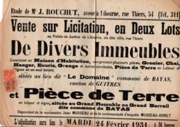 TIMBRE FISCAL SUR AFFICHE VENTE SUR LICITATION 1931 - Fiscale Zegels