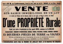 TIMBRE FISCAL SUR AFFICHE SAISIE IMMOBILIERE 1937 - Fiscale Zegels