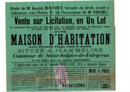 TIMBRE FISCAL SUR AFFICHE VENTE SUR LICITATION 1914 - Fiscale Zegels